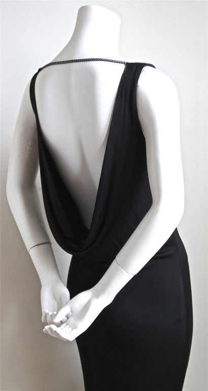 ALEXANDER MCQUEEN black draped bias cut dress with chain detail In Excellent Condition For Sale In San Francisco, CA