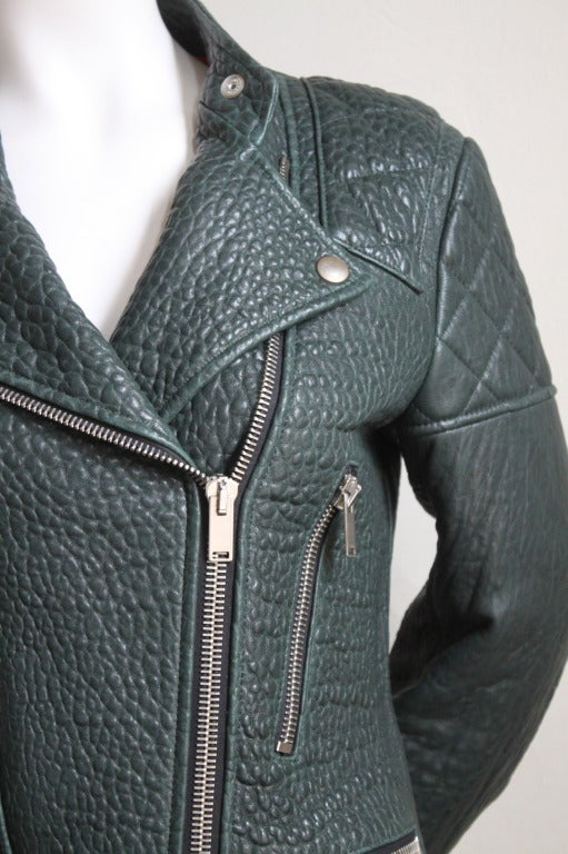 Very rare deep forest green shrunken kangaroo leather biker jacket designed by Phoebe Philo for Celine. Labeled a French size 36, however this particular style leather biker jacket runs larger than other Celine moto jackets.  Very rare longer cut