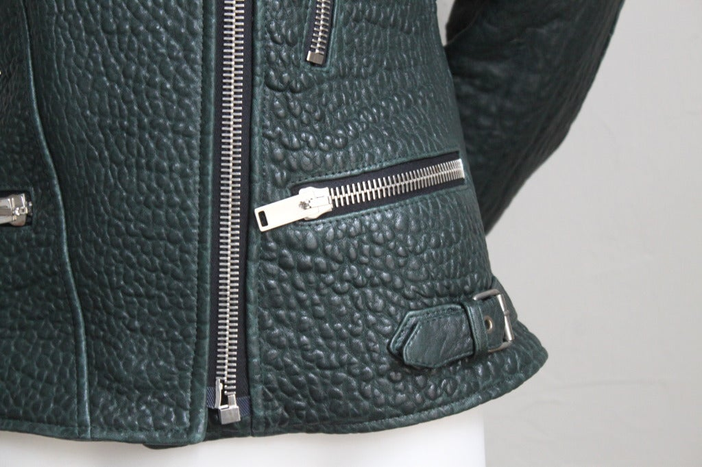 CELINE by PHOEBE PHILO forest green leather biker jacket In New Condition In San Fransisco, CA