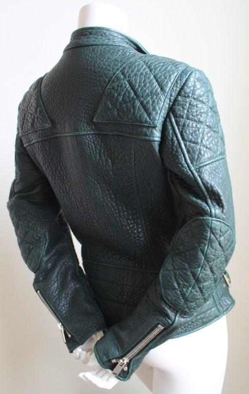 Women's CELINE by PHOEBE PHILO forest green leather biker jacket