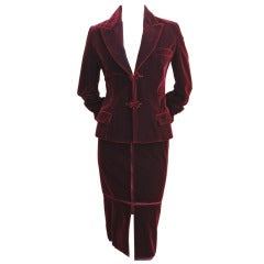 TOM FORD for YVES SAINT LAURENT burgundy velvet suit