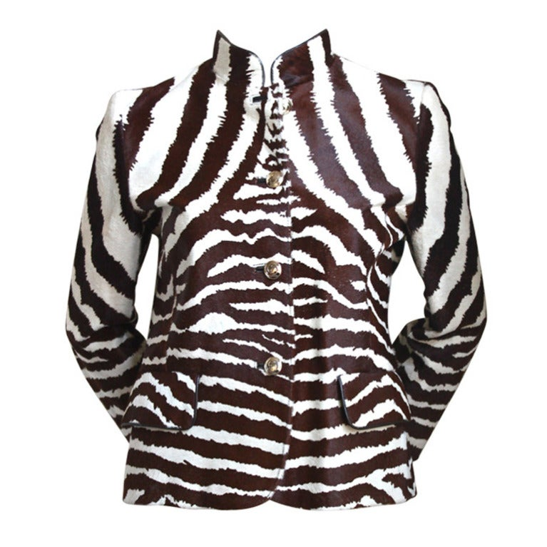 *SALE* TOM FORD GUCCI zebra print calf hair jacket with leather & bamboo detail