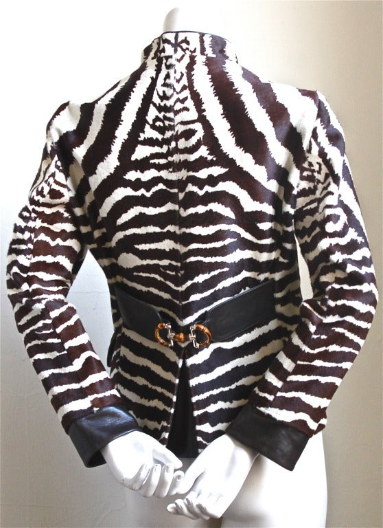 *SALE* TOM FORD GUCCI zebra print calf hair jacket with leather & bamboo detail image 2