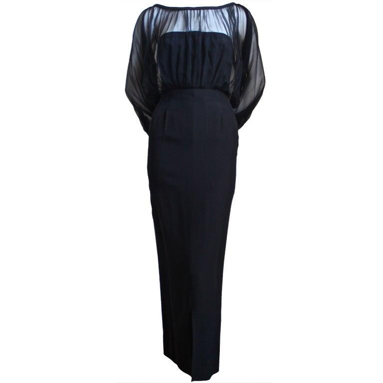 1940's IRENE LENTZ black dress with blouson silk chiffon overlay 1