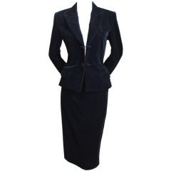 TOM FORD for YVES SAINT LAURENT black velvet skirt suit