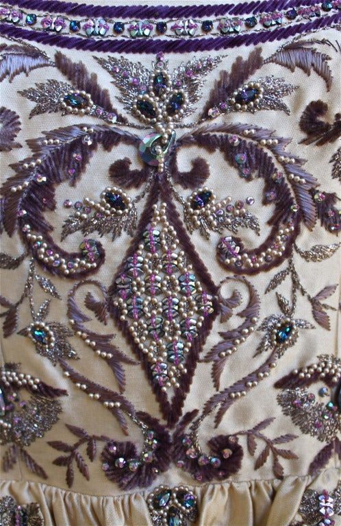 CASTILLO - JEANNE LANVIN haute couture gown with Lesage embroidery & beading In Good Condition For Sale In San Fransisco, CA