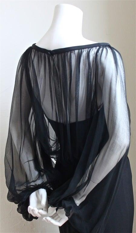 1940's IRENE LENTZ black dress with blouson silk chiffon overlay 3