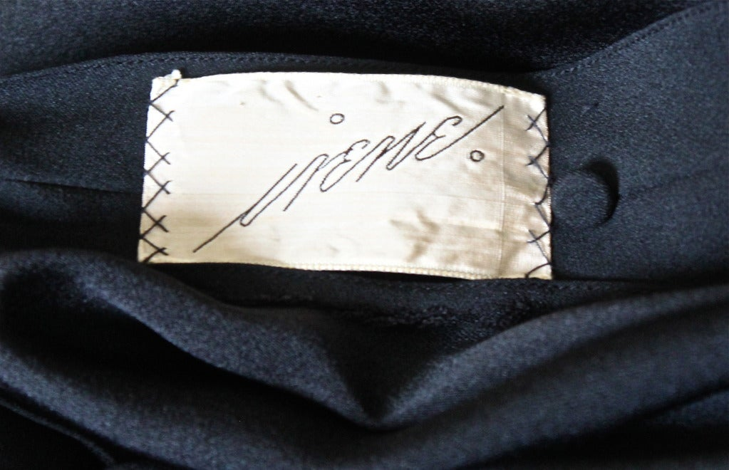 1940's IRENE LENTZ black dress with blouson silk chiffon overlay 5