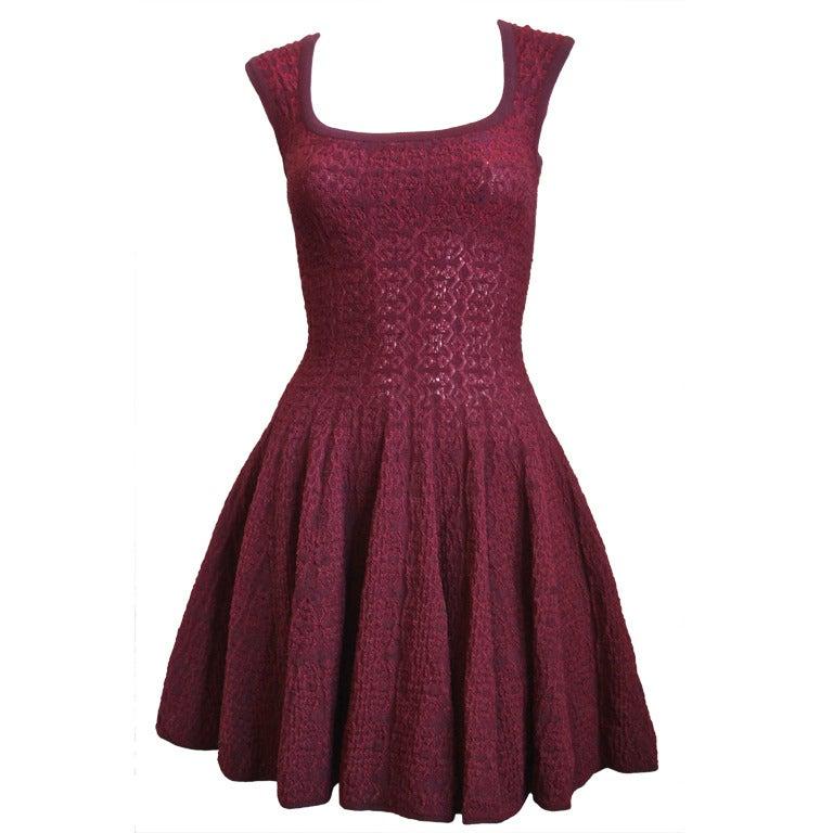 AZZEDINE ALAIA burgundy 'Muguet' dress 1