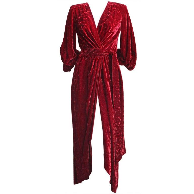 1970's YVES SAINT LAURENT crimson floral velvet devore wrap dress 1