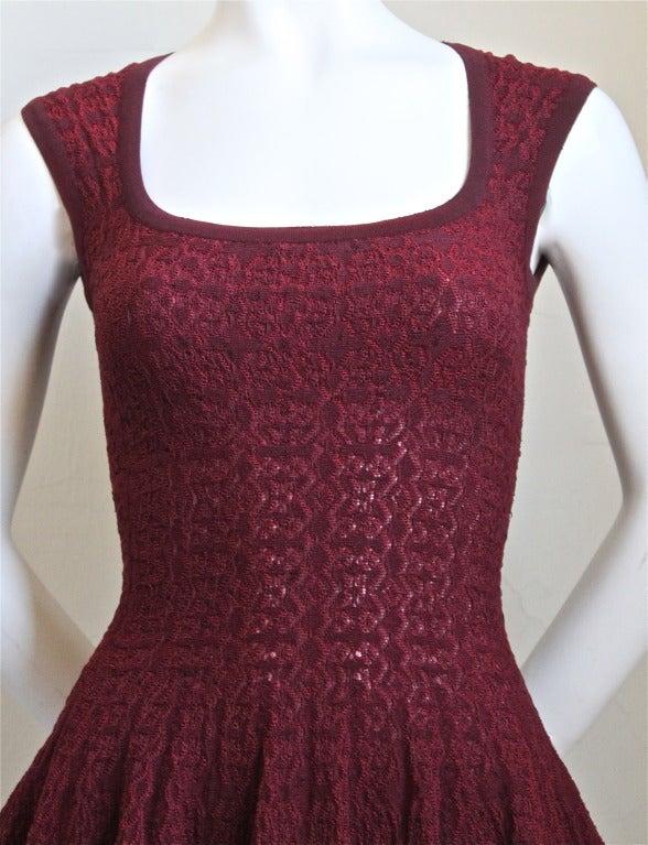 AZZEDINE ALAIA burgundy 'Muguet' dress 2