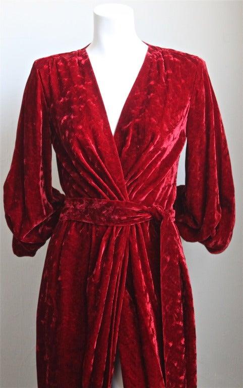 1970's YVES SAINT LAURENT crimson floral velvet devore wrap dress 2
