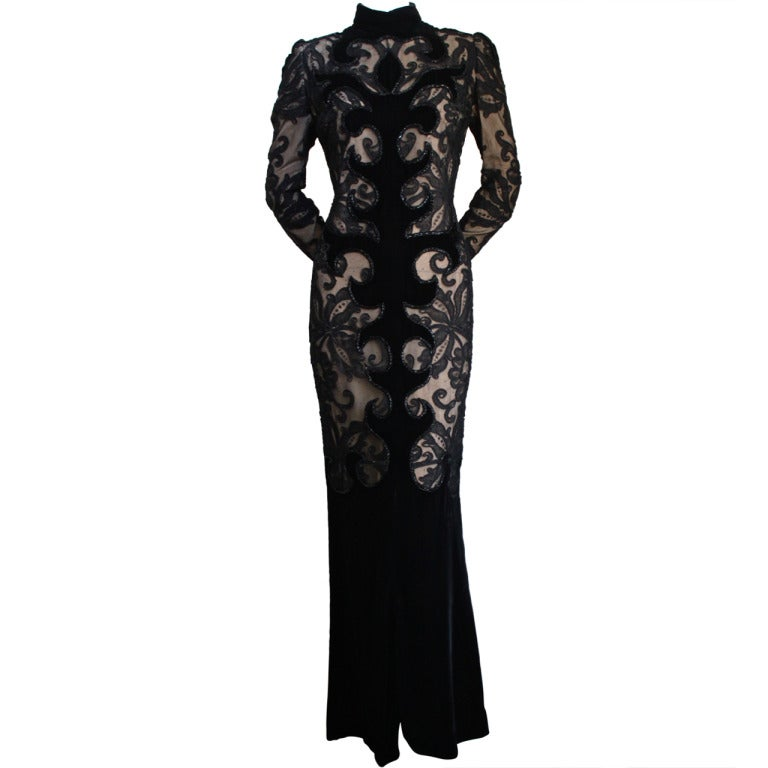 1960's PIERRE BALMAIN velvet and lace dress with beading 1