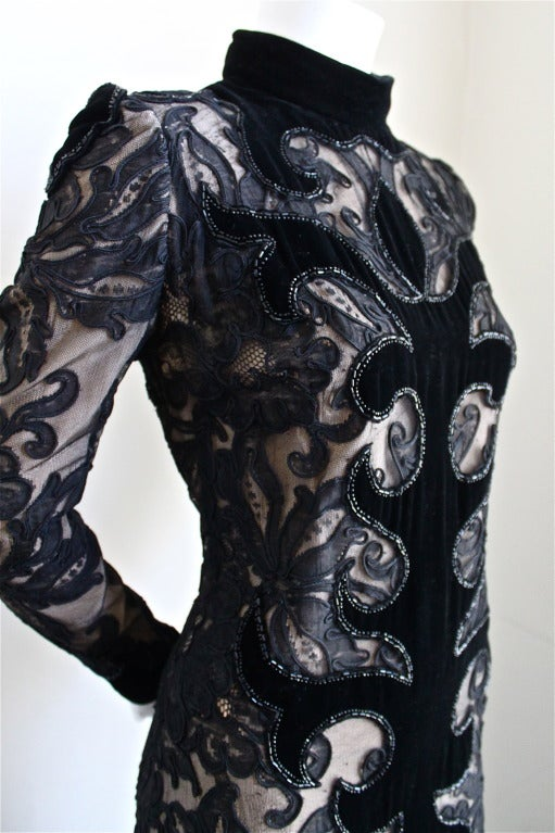 1960's PIERRE BALMAIN velvet and lace dress with beading 3