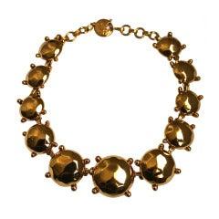 1980's  YVES SAINT LAURENT gilt faceted 'stone' necklace