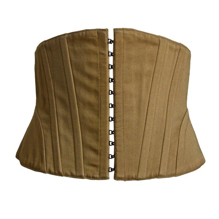 1980's AZZEDINE ALAIA khaki twill corset belt 1