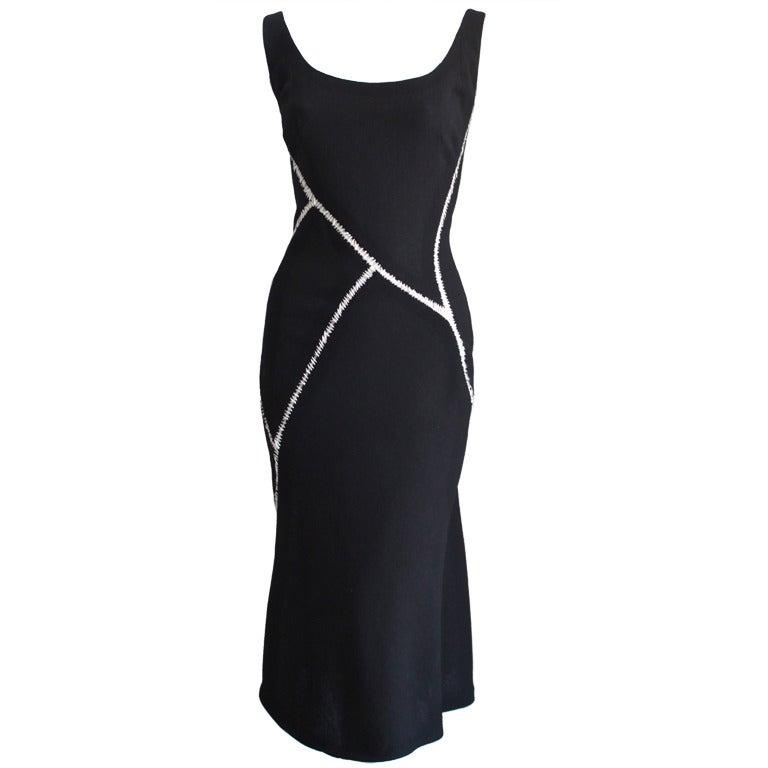 ALEXANDER MCQUEEN black wool dress with white stitching