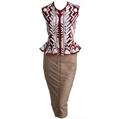 TOM FORD - YVES SAINT LAURENT claret embroidered jacket & skirt - runway 2002