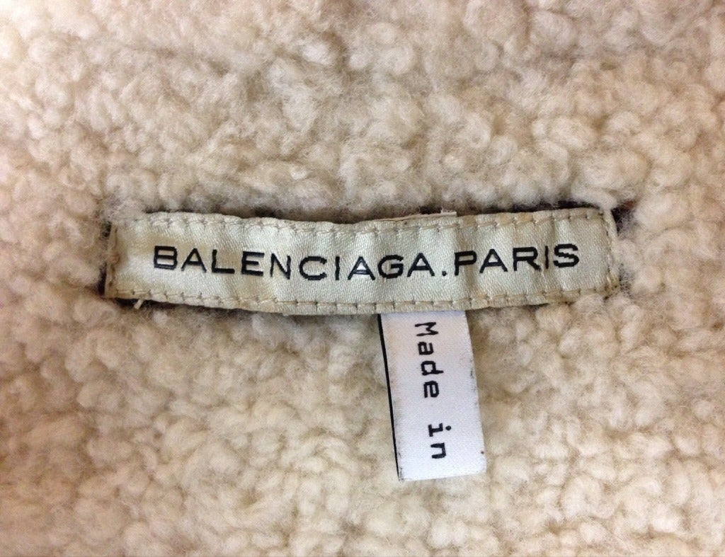 Black very rare BALENCIAGA fall 2003 cropped shearling aviator coat For Sale