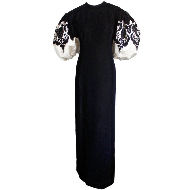 1960 39 s pierre balmain haute couture velvet gown with for Costume jewelry for evening gowns