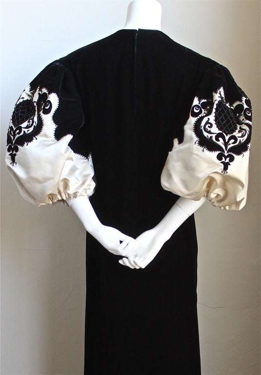 1960'S PIERRE BALMAIN haute couture velvet gown with embroidery & beading 3