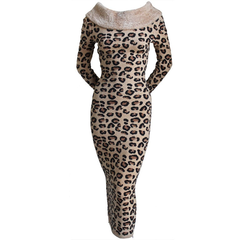 very rare AZZEDINE ALAIA leopard knit dress - 1991 1
