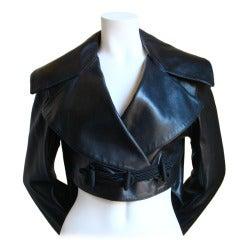 AZZEDINE ALAIA black leather jacket with shawl collar & frog closure - 1991