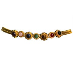1970's Judith Leiber gilt belt with semi-precious cabochons