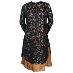 1960's EISA / BALENCIAGA haute couture lace dress with sequins and pleats