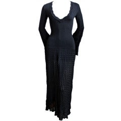 Azzedine Alaia black open knit long dress, 1992