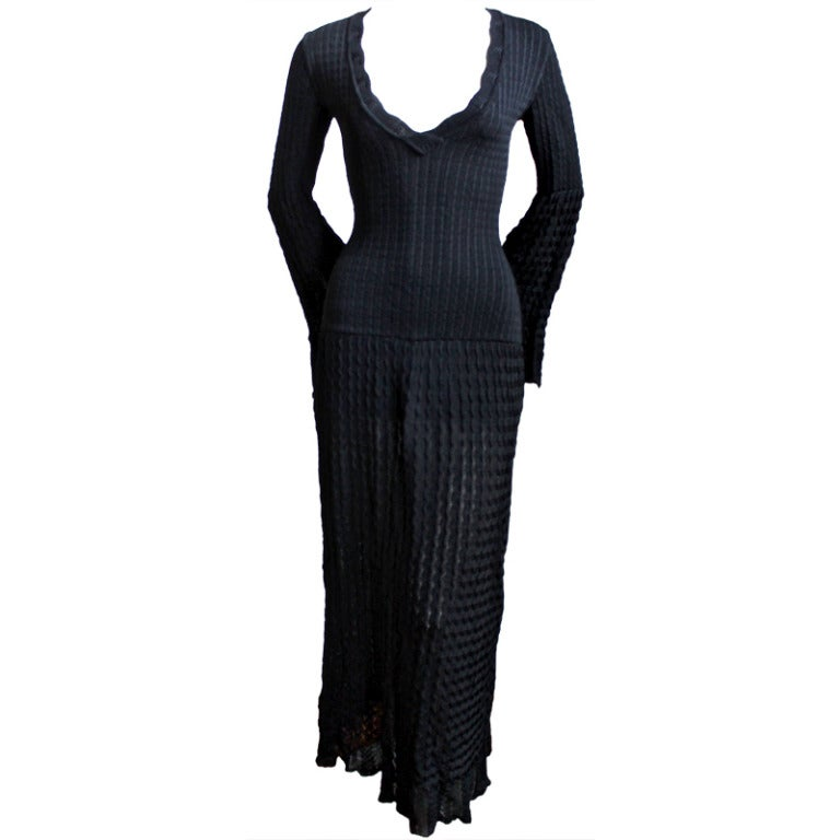 1992 - Azzedine Alaia black open knit long dress