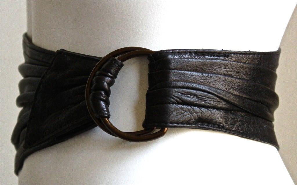 1980's AZZEDINE ALAIA black rushed belt with side buckle 3