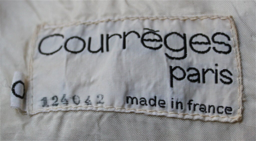 1960's COURREGES numbered haute couture cream A-line wool dress 2