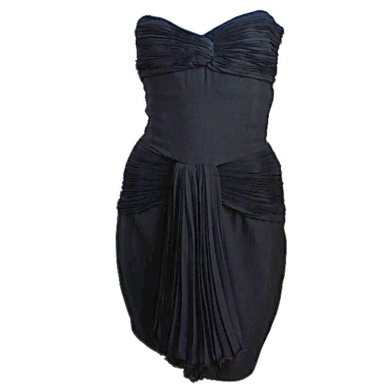 1980's VALENTINO black pleated strapless dress For Sale