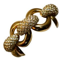 YVES SAINT LAURENT chunky rhinestone link bracelet