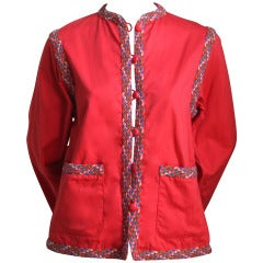 1970's YVES SAINT LAURENT red jacket with colorful woven trim