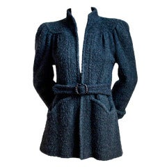 rare OSSIE CLARK / QUORUM black 1940's style boucle belted jacket