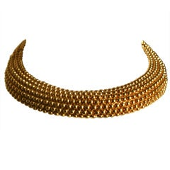 1980's YVES SAINT LAURENT hinged gilt necklace
