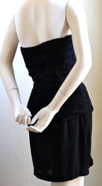 Black 1980's VALENTINO black pleated strapless dress For Sale