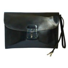 vintage HERMES black box leather pouchette clutch