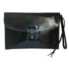 vintage HERMES black box leather pouchette clutch