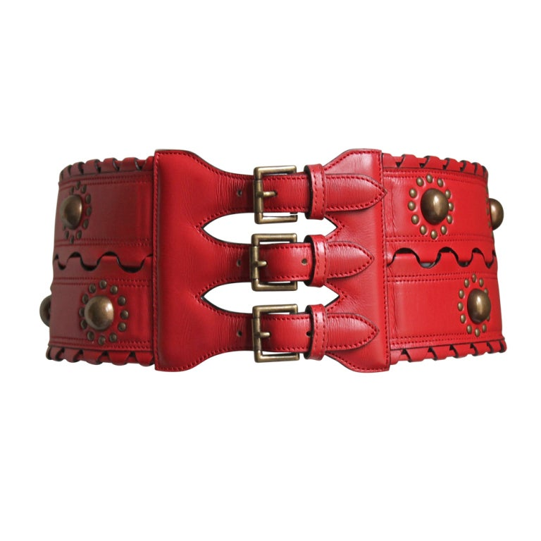 1993 - AZZEDINE ALAIA red leather corset belt with brass studs 1