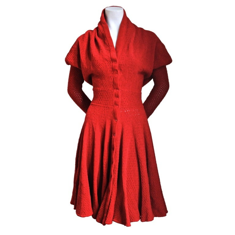 AZZEDINE ALAIA red chenille dress with shawl collar 1