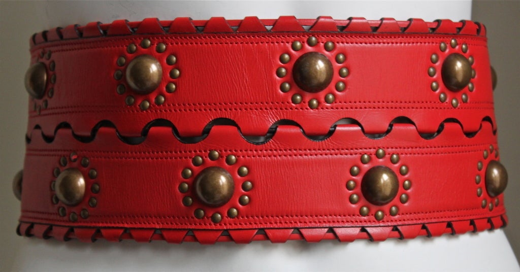 1993 - AZZEDINE ALAIA red leather corset belt with brass studs 2