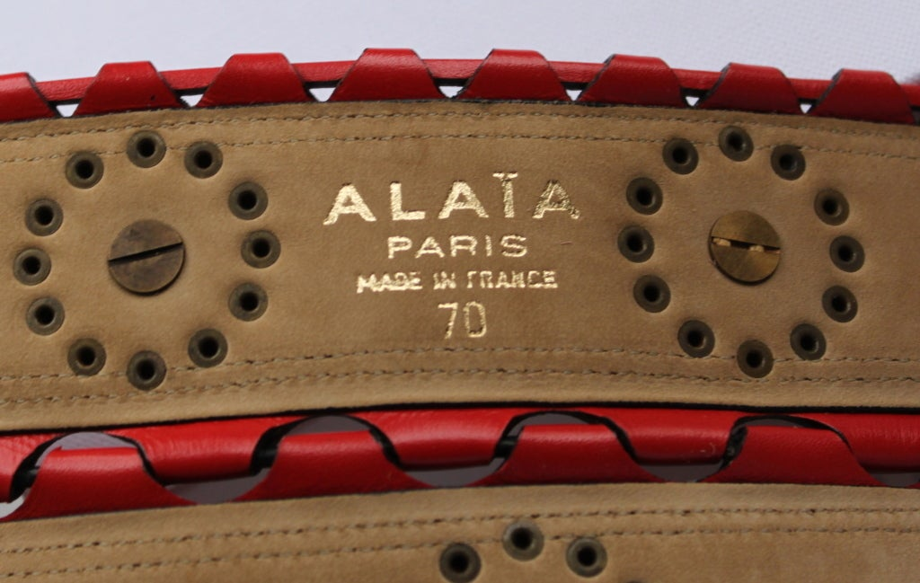 1993 - AZZEDINE ALAIA red leather corset belt with brass studs 3