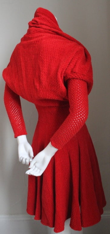 AZZEDINE ALAIA red chenille dress with shawl collar 2