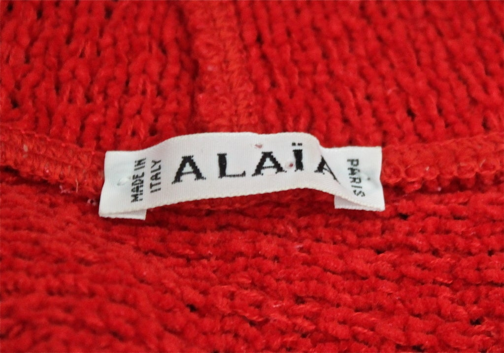 AZZEDINE ALAIA red chenille dress with shawl collar 3