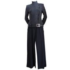 1990's Alexander McQueen convertible charcoal wool maxi coat