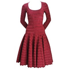 Azzedine Alaia zig zag cranberry chenille knit dress