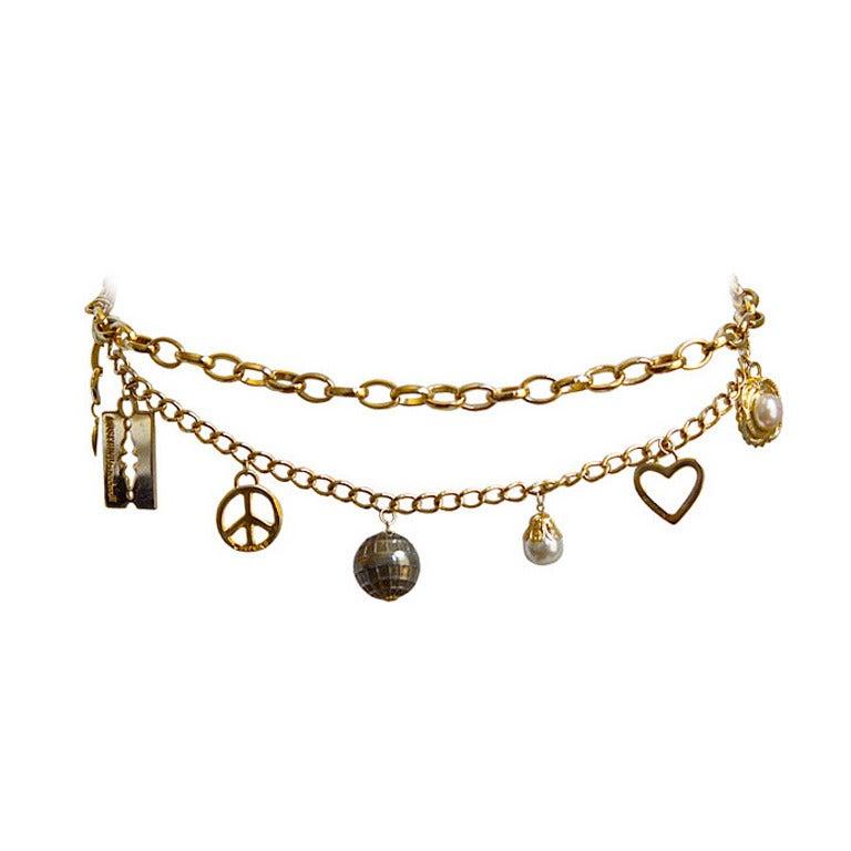 1980's MOSCHINO gilt charm belt 1